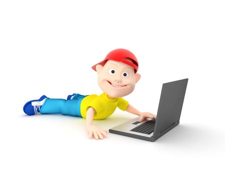 Rendering 3d fun boy with laptop on white background