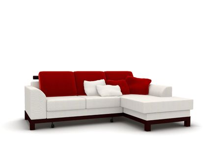 3d rendering isolated white sofa with red pillows photo