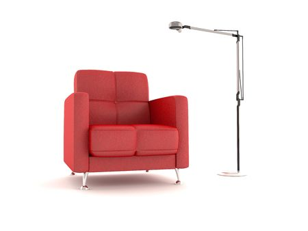 Red armchair and floorlamp on white background