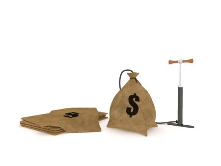 Bag with dollars pumped on white background Stock Photo