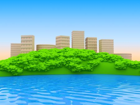 Town in an environment of trees standing on a hill over the river