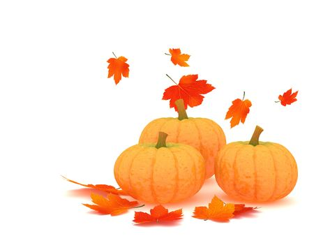 Pumpkins and red orange leafs on white background