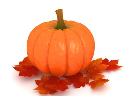 Pumpkin and red orange leafs on white background