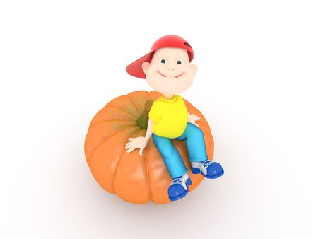 Funny boy sitting on halloween pumpkin on white background