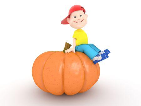 Funny boy sitting on halloween pumpkin on white background
