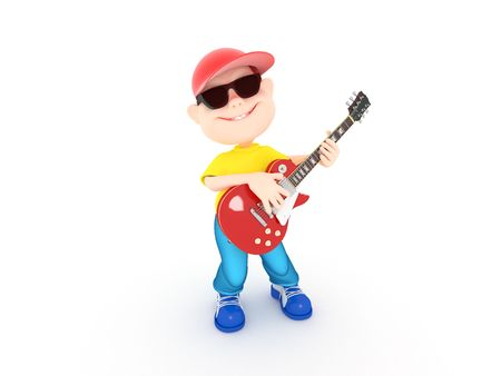 Cartoon Boy With Electric Guitar Over White
