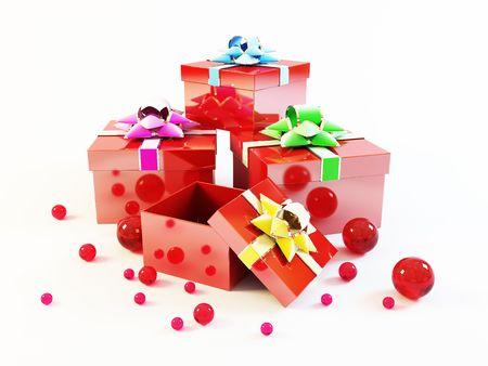 Many gift boxes isolated on white background Stock Photo