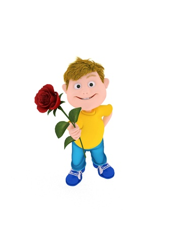 Smiling boy holding a red rose, isolated on white