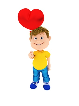 Smiling boy holding a red heart ballon, isolated on white