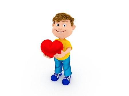 Smiling boy holding a red heart, isolated on white Stock Photo