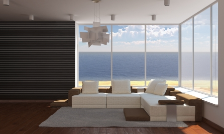 interior of a sea house with white sofa