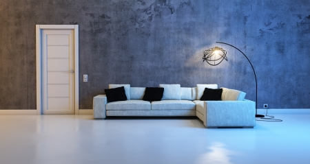 Stylish white leather sofa against a concrete wall