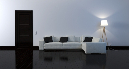 Stylish leather sofa against a white wall photo