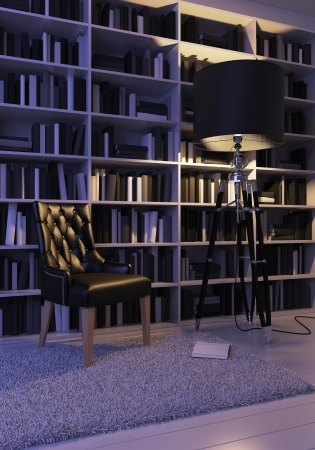 Black leather armchair on a background of bookshelves