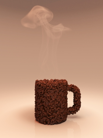 Coffee grains in the form of a cup
