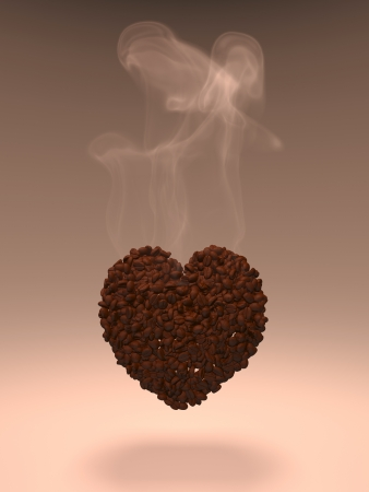 Coffee grains in the form of a heart Stock Photo