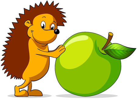 Cheerful hedgehog rolls green apple