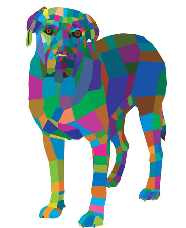 abstract geometric mosaic pattern dog on a white background Illustration