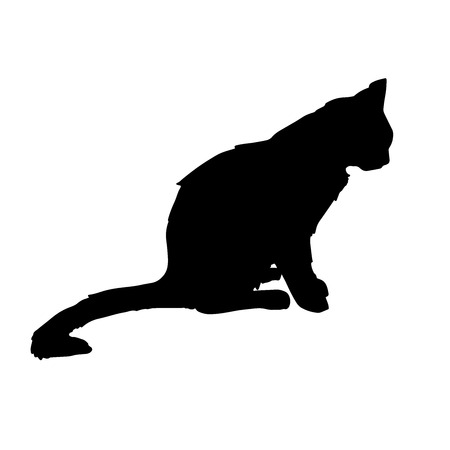 Silhouettes a black cat. The perfect background for Halloween, the art of tattooing, Egyptian, spirituality, the design of the boho. Ideal for printing, posters, T-shirts and textiles.