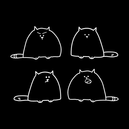 cute cat illustration series. Isolated vector illustration for poster, tattoo, t-shirt, card design.