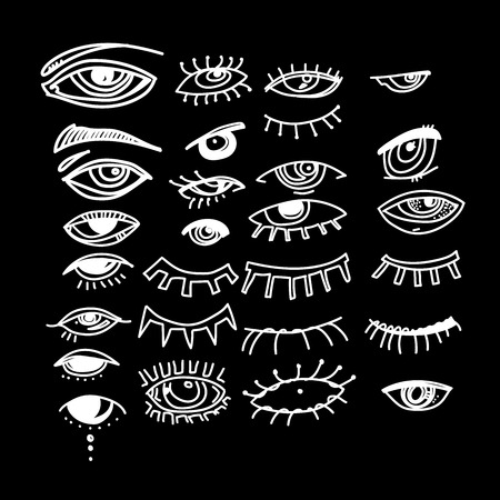 Eyes and eye icon set vector collection. Look and Vision icons. fantasy, spirituality, mythology, tattoo art, coloring books. Isolated vector illustration.