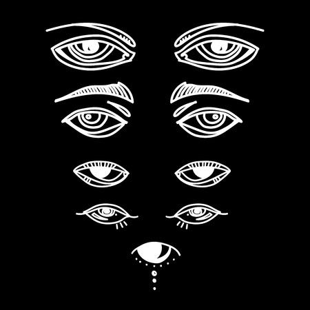 Ogen en oog pictogrammenset vector collectie. Look and Vision-pictogrammen. fantasie, spiritualiteit, mythologie, tattoo-kunst, kleurboeken. Geïsoleerde vectorillustratie.