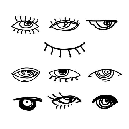 Ogen en oog pictogrammenset vector collectie. Look and Vision-pictogrammen. fantasie, spiritualiteit, mythologie, tattoo-kunst, kleurboeken. Geïsoleerde vectorillustratie. Vector Illustratie