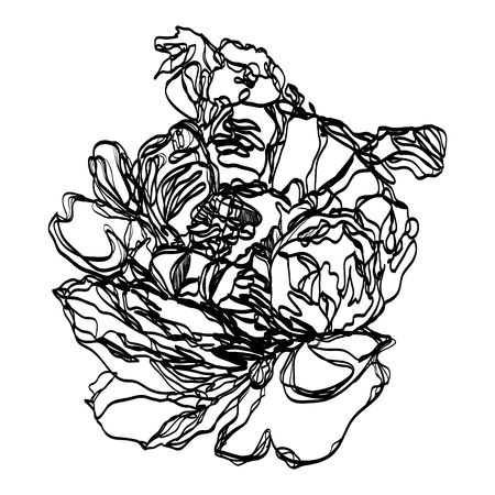 Drawing vector graphics with floral pattern for design. Floral flower natural design. Graphic, sketch drawing. Pion.