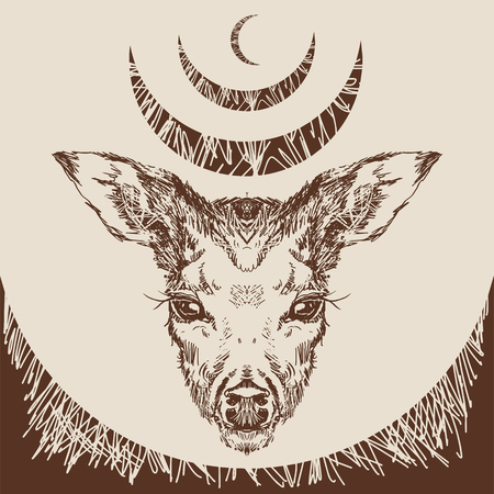 stag deer head sketch vector graphics monochrome drawing