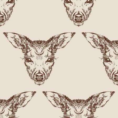 stag deer head sketch vector graphics monochrome drawing Stock Vector - 118931757