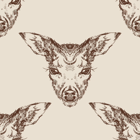 Vector. Deer head with large ears and eyes. Geometric linear animal. Linear graphics. Modern design for advertising, branding greeting card, cover, poster, banner.