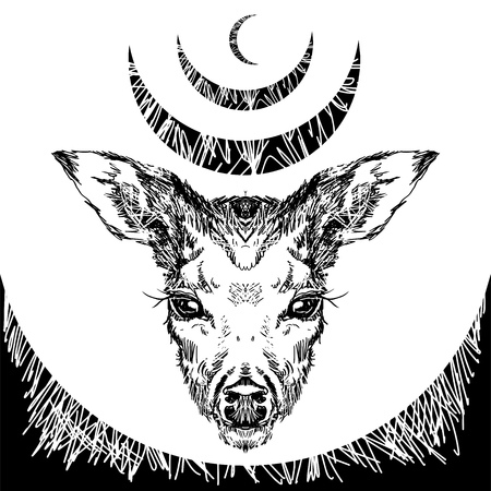 Vector. Deer head with large ears and eyes. Geometric linear animal. Linear graphics. Modern design for advertising, branding greeting card, cover, poster, banner. stag deer head sketch vector graphics monochrome drawing