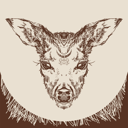 Vector. Deer head with large ears and eyes. Geometric linear animal. Linear graphics. Modern design for advertising, branding greeting card, cover, poster, banner. stag deer head sketch vector graphics monochrome drawing Illustration