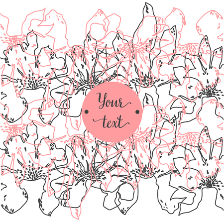Elegant and cute illustration, ornament. Printing for textile and industrial purposes. And a beautiful romantic frame of flowers. Vector illustration.Vintage Greeting Card with Blooming Flowers. Wildflowers. Illustration