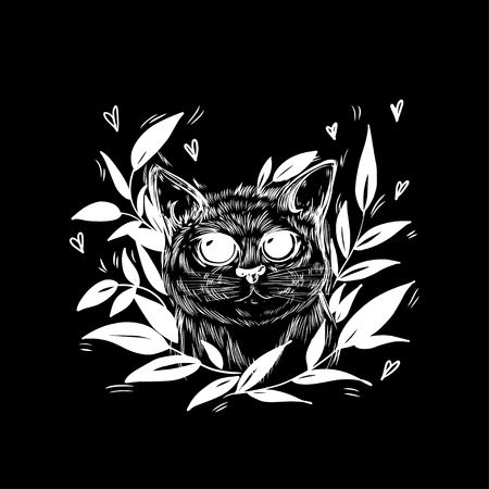 Stylized cat in a wreath of leaves. Template for cards and any printing products, printing on clothing. Vector illustration. Vettoriali