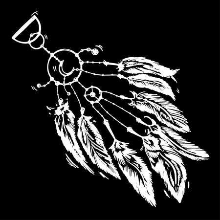 Stylized dream catcher with feathers. Template for cards and any printing products, printing on clothing. Vector illustration. 일러스트