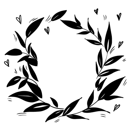 Stylized a wreath of leaves. Template for cards and any printing products, printing on clothing. Vector illustration. 일러스트