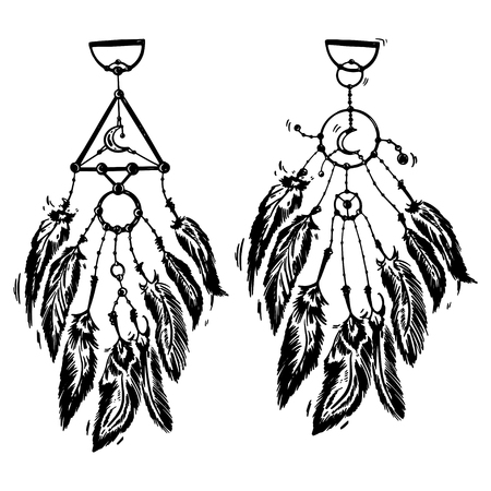 Stylized dream catcher with feathers. Template for cards and any printing products, printing on clothing. Vector illustration. Illustration