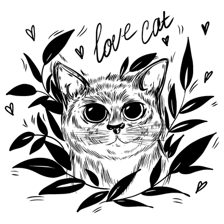 Stylized cat in a wreath of leaves. Template for cards and any printing products, printing on clothing. Vector illustration. 일러스트