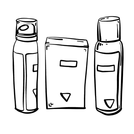 Set of care products for face and body. Jars with creams and lotions without labels. Beauty industry. Vector illustration. Stock Vector - 125858370