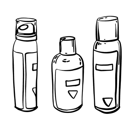 Set of care products for face and body. Jars with creams and lotions without labels. Beauty industry. Vector illustration.