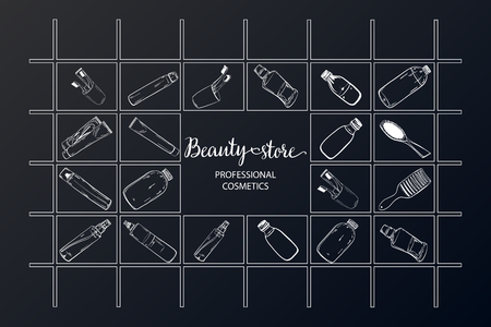 Template on the board with makeup elements - shampoo, cream, lipstick, comb, aerosol, lotion, oil. Sketchy background of cosmetics for a beauty salon. - vector Stock Vector - 125723835