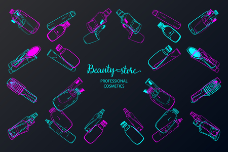 Template on the board with makeup elements - shampoo, cream, lipstick, comb, aerosol, lotion, oil. Sketchy background of cosmetics for a beauty salon. - vector