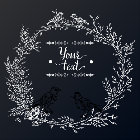 Elegant and cute illustration. Birds sit on each branch. Printing for textile and industrial purposes. And a beautiful romantic frame of flowers and twigs. Vector illustration.