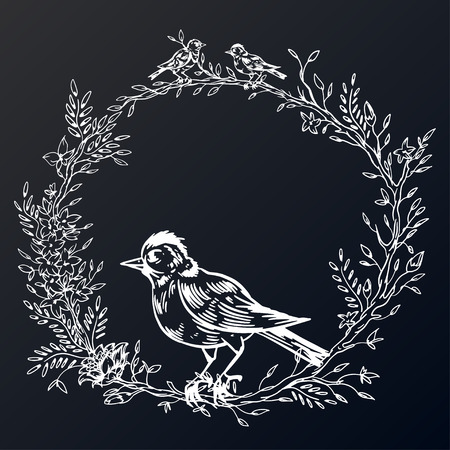 Elegant and cute illustration. Birds sit on each branch. Printing for textile and industrial purposes. And a beautiful romantic frame of flowers and twigs. Vector illustration. Stock Vector - 124886704