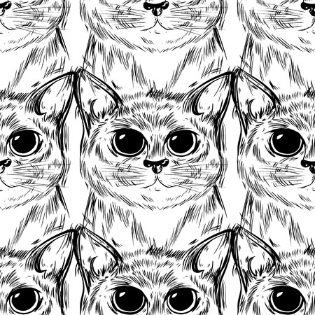 Stylized big cat with beautiful cute eyes. Kawaii. Template for cards and any printing products, printing on clothing. Vector illustration.