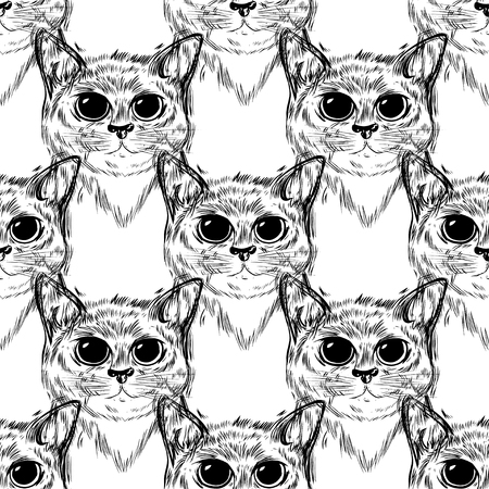 Pattern stylized cat with beautiful cute eyes. Kawaii. Template for cards and any printing products, printing on clothing. Vector illustration.