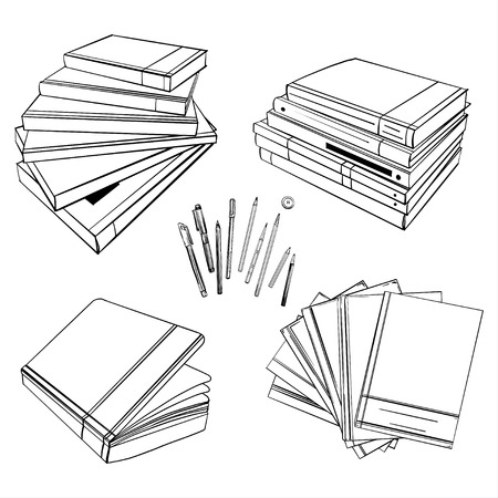 A set of books or diaries. Print for your design. Book mockup. Blank white closed and open books.