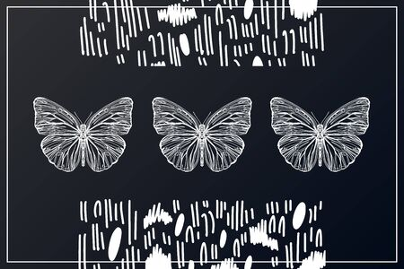Beautiful hand drawn vector illustration sketching of butterflies. Boho style drawing. Use for postcards, print for t-shirts, posters, wedding invitation, tissue, linens Stock Vector - 127998574