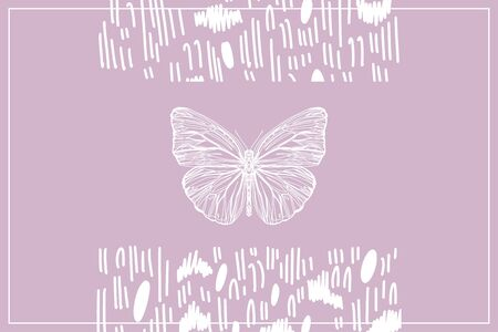 Beautiful hand drawn vector illustration sketching of butterflies. Boho style drawing. Use for postcards, print for t-shirts, posters, wedding invitation, tissue, linens Stock Vector - 128002415